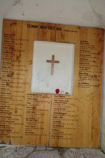 FOTKA - V kapličce jsou jména obětí hor a důvod jejich úmrtí. (Většinou umrzli)