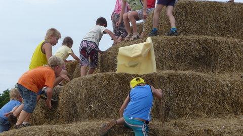 FOTKA - kluci lezou na slámový hrad