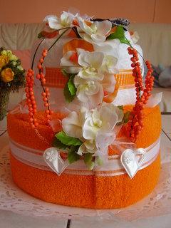 FOTKA - dort z ručníků  -    dárek pro kamarádku k 50. narozeninám