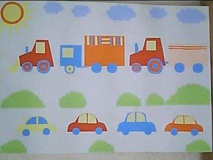 FOTKA - obrázek s auty z barevných papírů