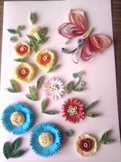 FOTKA - obrázek z papírových kytiček