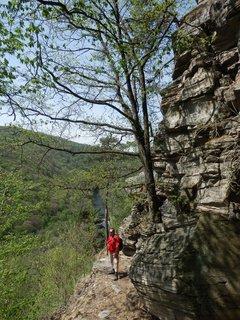 FOTKA - zde vede pěšina po úzké římse ve srázu nad řekou, cestou z Čížova do Vranova