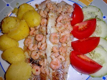 FOTKA - Ryba na česneku se shrimps
