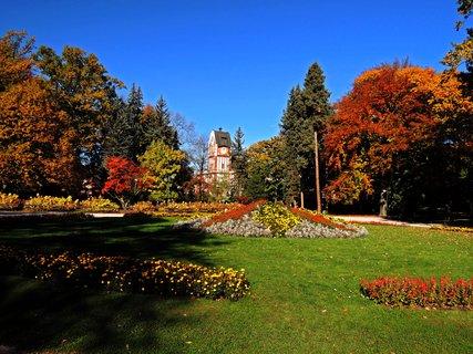 FOTKA - park v podzimním čase má pestrou paletu barev