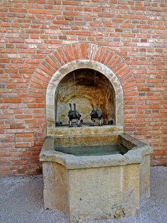 FOTKA - kašna se dvěma havrany  ve spodní části teras