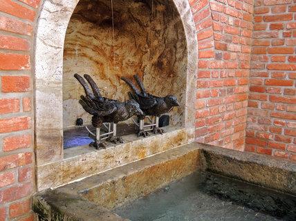 FOTKA - železní havrani chrlící vodu do kašny