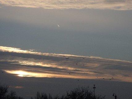 FOTKA - dnešný východ slnka s letiacimi vtákmi