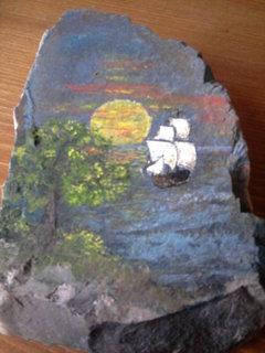 FOTKA - dcerka zkoušela malování na kameny