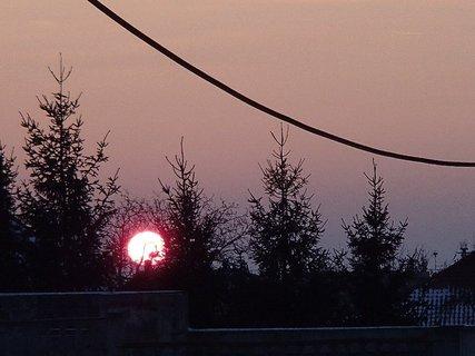 FOTKA - slnko zapadalo za stromy