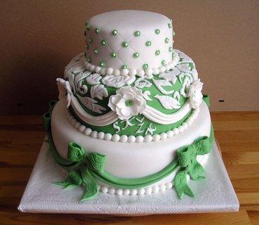 FOTKA - svatební bílo zelený s  krajkou