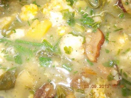 FOTKA - 2. - 3.9. - 26 - detail - bramboračka s houbama a vaječnýma nokama