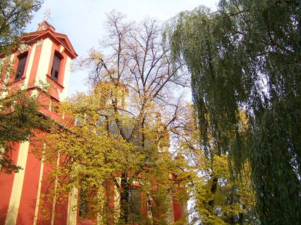FOTKA - 10.10.2013, kostel se stromy a vrbou..