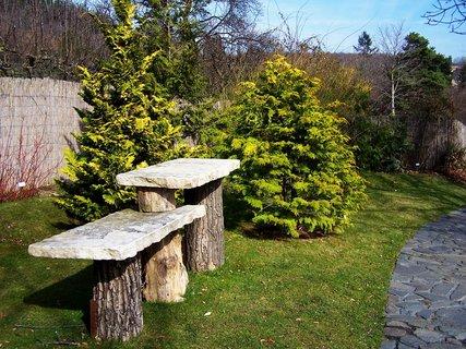 FOTKA - Botanická - Kamenné stoly  pod bonsaje v japonské zahradě