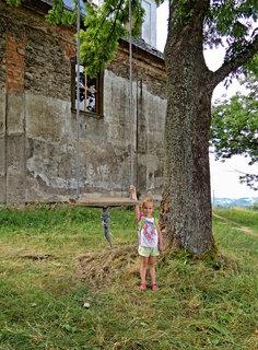 FOTKA - u kostela na vysokém stromě je připevněná pevná houpačka