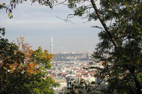 FOTKA - Petřín v podzimních barvách - Žižkovská věž je nepřehlédnutelná