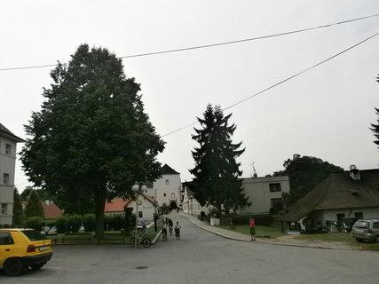 FOTKA - kovárna (vpravo) před hradem v Nových Hradech
