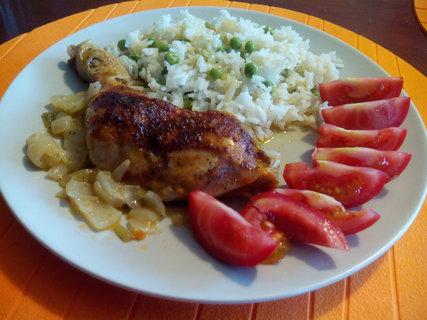 FOTKA - Pečené kuřátko s rýží a zeleninou