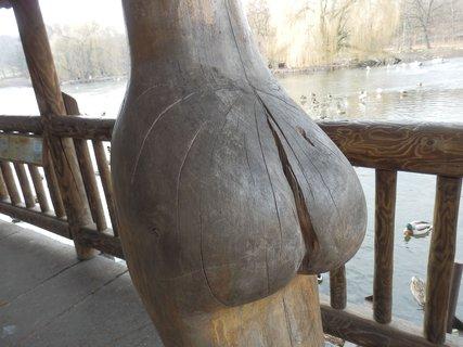 FOTKA - Podkrušnohorský ZOOpark v Chomutově - dřevěná plastika u rybníka