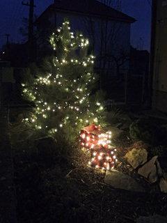 FOTKA - rozsvícené dárky u rozsvíceného stromku