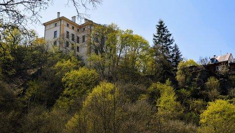 FOTKA - Budova a barevné stromky