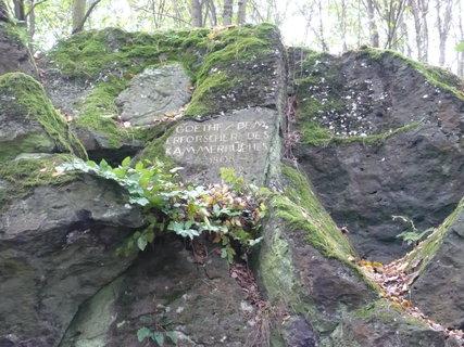 FOTKA - Komorní Hůrka  hlava Goetha na skale u štoly