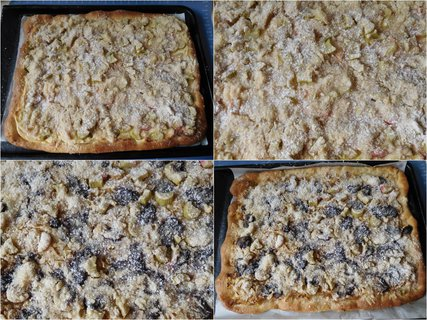 FOTKA - Dva koláče - tvaroh, rebarbora a jablka, rebarbora, povidla (20.5.)