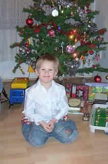 FOTKA - Daneček u vánočního  stromečku