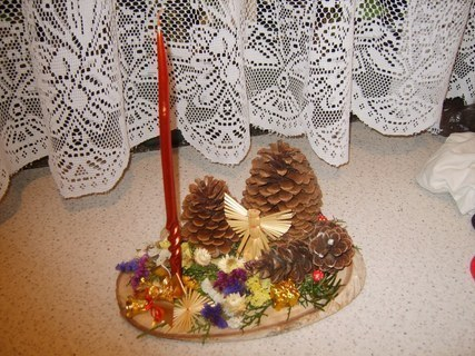 FOTKA - vánoční svícen na dřevě