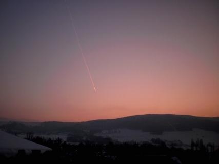 FOTKA - Tryskač o západu slunce - 22.1.2010, výhled z balkonu.