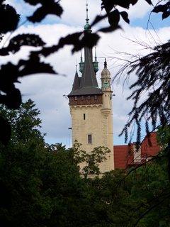 FOTKA - průhonický zámek skze stromy...