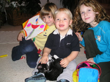 FOTKA - Se svými sestřenicemi a jejich koťátkem