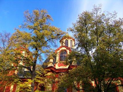FOTKA - barevné stromy u kostela sv. Jakuba, Kunratice