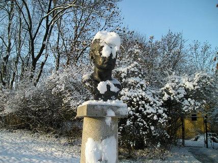 FOTKA - Busta Josefa Hory po sněžení